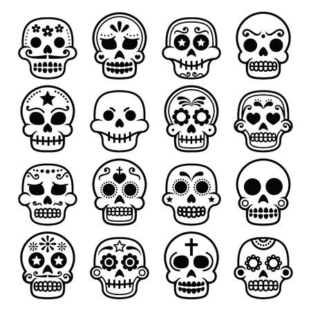 tete de mort: Halloween, crâne de sucre mexicain, Dia de los Muertos - icônes de dessin animé Illustration