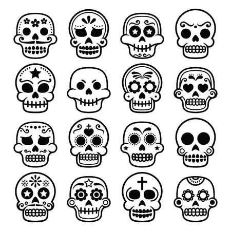 black head and moustache: Halloween, Mexican sugar skull, Dia de los Muertos - cartoon icons Illustration