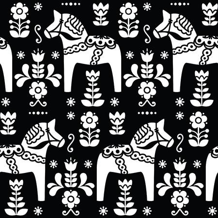 Swedish folk art Dala or Daleclarian horse seamless pattern on black Illustration