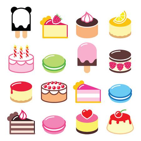 Dessert icons set - cake, bitterkoekjes, ijs pictogrammen