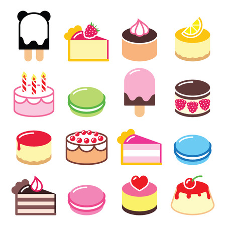 Dessert icons set - cake, macaroon, ice-cream icons