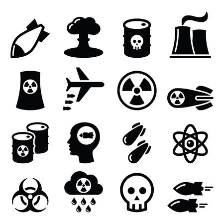 riesgo biologico: Arma nuclear, fábrica nuclear, guerra, bombas iconos conjunto Vectores