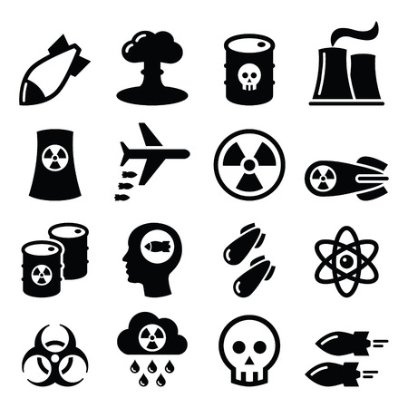 barrel bomb: Nuclear weapon, nuclear factory, war, bombs icons set