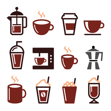 cold drinks: Coffee drinks, coffee makers icons set