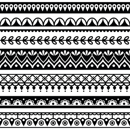 seamless damask: Mehndi, Indian Henna tattoo seamless pattern, design elements Illustration