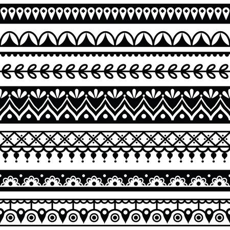 black damask: Mehndi, Indian Henna tattoo seamless pattern, design elements Illustration