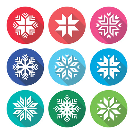 isolated on red: Christmas, winter snowflakes flat design icons set