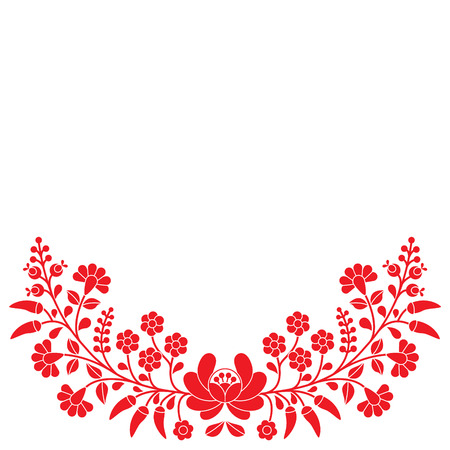 hungarian: Hungarian folk red floral pattern - Kalocsai embroidery with flowers and paprika Illustration