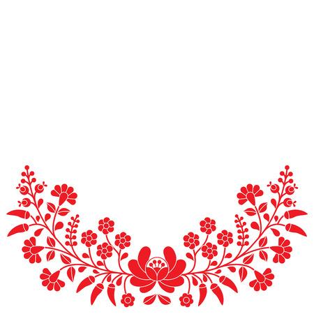 bordado: Popular húngara rojo estampado de flores - bordados Kalocsai con flores y pimentón Vectores