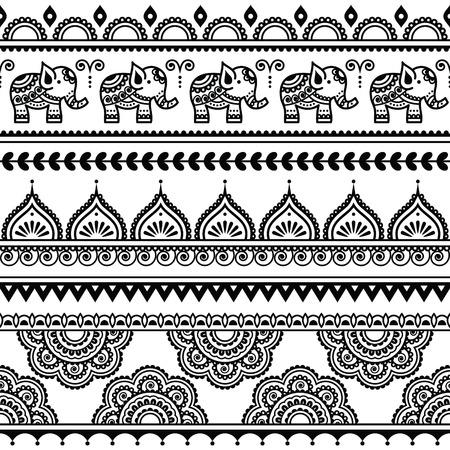 elefante: Mehndi, india tatuaje de la alheña patrón transparente con elefantes