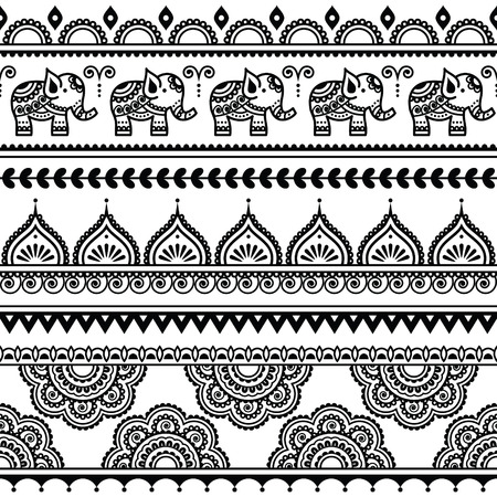 asian culture: Mehndi, Indian Henna tattoo seamless pattern with elephants