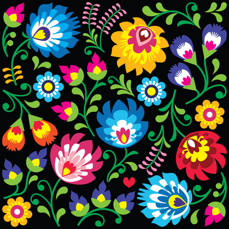 Floral Polish folk art pattern on black - Wzory Lowickie, Wycinanki Illustration