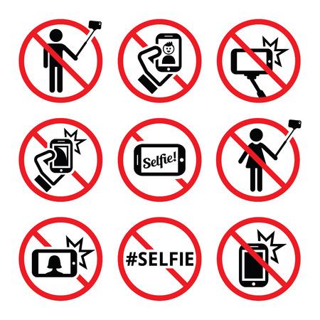 Geen selfies, geen selfie stokken vector tekenen Vector Illustratie