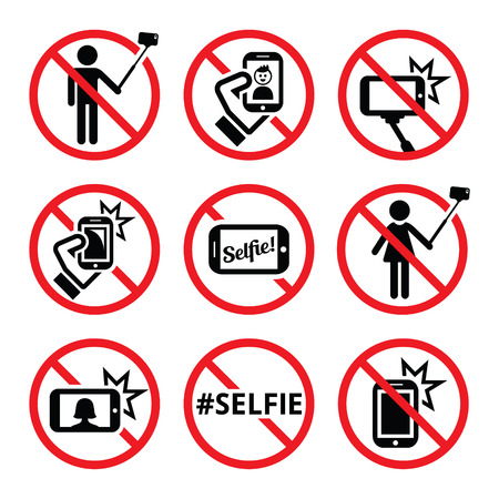 warning attention sign: No selfies, no selfie sticks vector signs