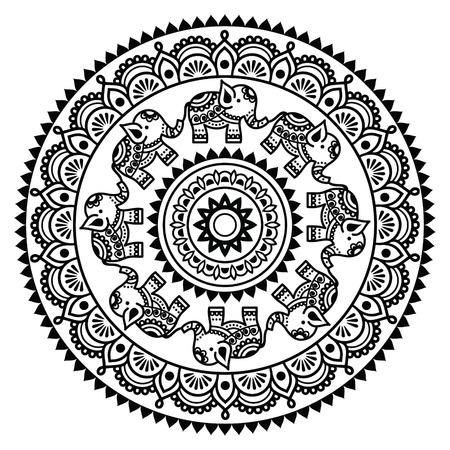 Round Mehndi, Indian Henna tattoo pattern Vectores