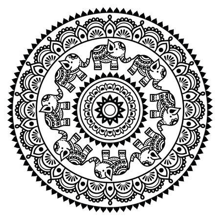 Round Mehndi, Indian Henna tattoo pattern Vettoriali