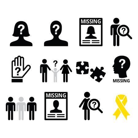 persons: Missing people, missing child icons set Illustration