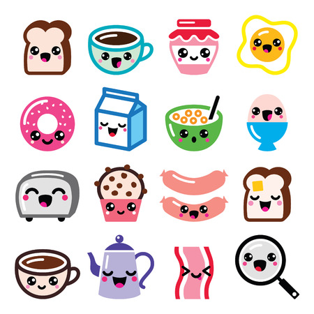 Kawaii śniadanie żywność i napoje, słodkie zestaw ikon wektorowych - tosty, jajka, bekon, kawa