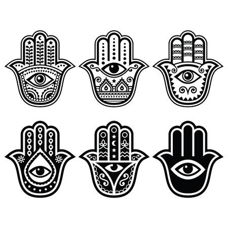 お守り、悪魔の目から保護のシンボル - ファティマの手ハムサ手  イラスト・ベクター素材