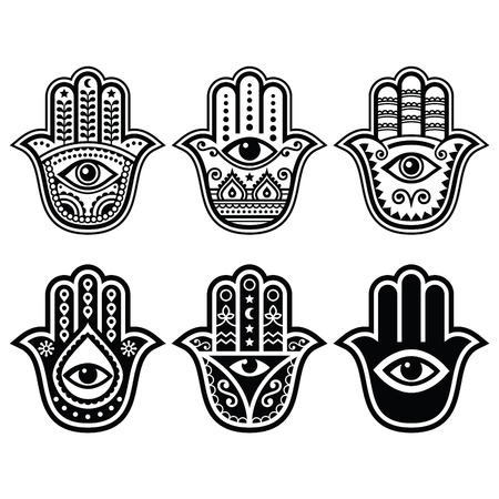 Hamsa hand, Hand of Fatima - amulet, symbol of protection from devil eye Illustration