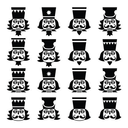 Noël Casse-Noisette - soldat tête de figurine icônes noires définies Banque d'images - 43457527