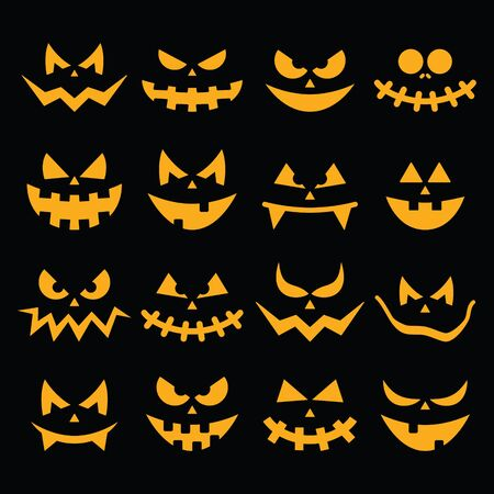 scary halloween: Scary Halloween orange pumpkin faces icons set on black