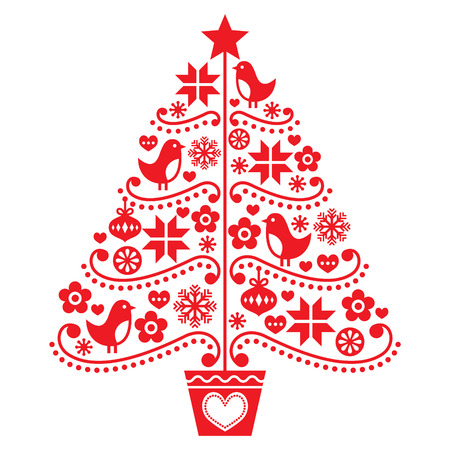 motivos navideños: Diseño del árbol de Navidad - estilo popular con los pájaros, las flores y los copos de nieve