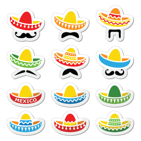 mexicans: Mexican Sombrero hat with moustache or mustache icons