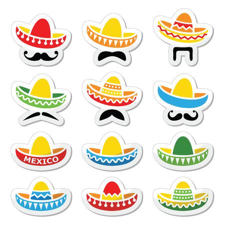 Sombrero mexicano del sombrero con el bigote o bigote iconos
