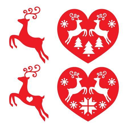 Reindeer, deer jumping, Christmas icons set Illustration