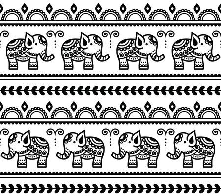 traditional tattoo: Mehndi, Indian Henna tattoo seamless pattern with elephants