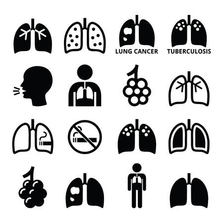 肺、肺疾患のアイコンを設定 - 結核、がん  イラスト・ベクター素材