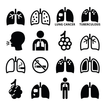 Lungs, lung disease icons set - tuberculosis, cancer Vettoriali