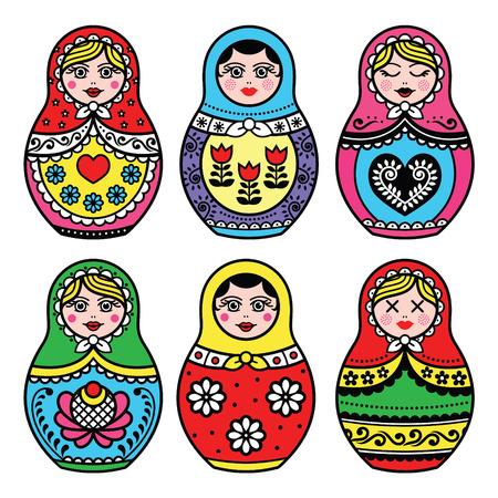 Matryoshka, Russische pop kleurrijke pictogrammen instellen Vector Illustratie