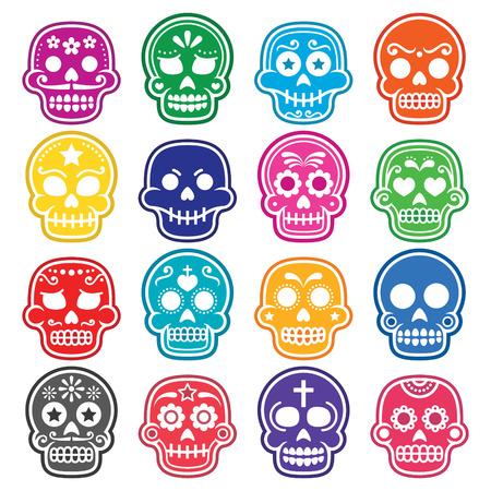 dia de muertos: De Halloween, cráneo del azúcar mexicana, Dia de los Muertos - iconos de dibujos animados