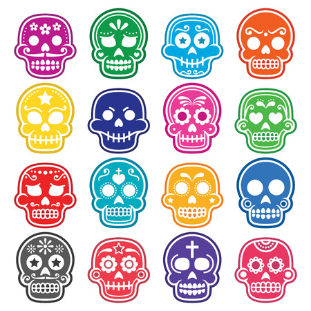 Halloween, Mexican sugar skull, Dia de los Muertos - cartoon icons Çizim