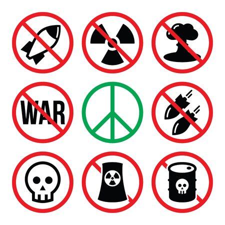 signos de precaucion: Ninguna arma nuclear, no hay guerra, no hay bombas señales de advertencia Vectores