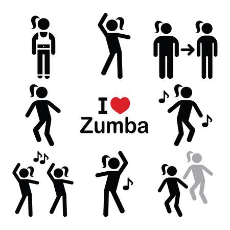 Zumba dança, ícones da aptidão do exercício definido Ilustração
