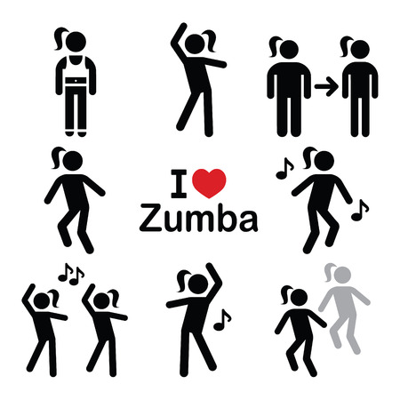 black people dancing: Zumba dance, workout fitness icons set