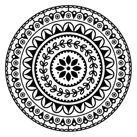 만다라는 인도 라운드 기하학적 인 패턴에 영감을 일러스트