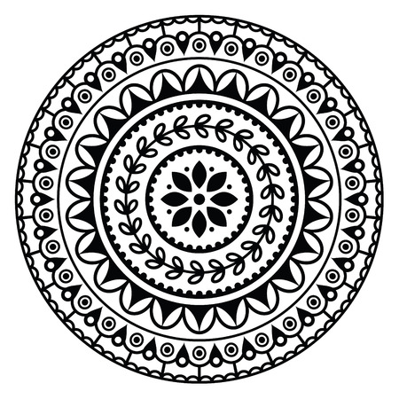 Mandala, Indian inspired round geometric pattern