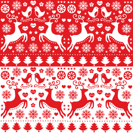 Christmas seamless red pattern with reindeer - folk style