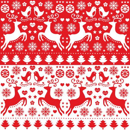 renna: Natale seamless rosso con renne - stile folk