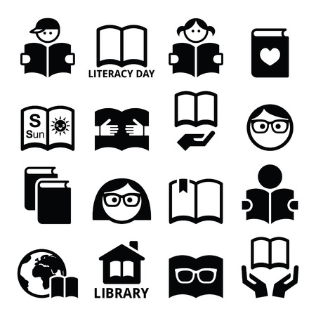 Children and adults reading books, International Literacy Day icons