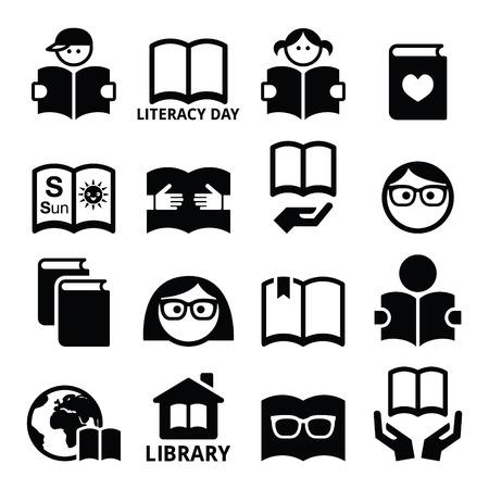 personas leyendo: Los niños y adultos que leen libros, iconos Día Internacional de la Alfabetización