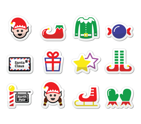 little skate: Elf, Christmas vector label set