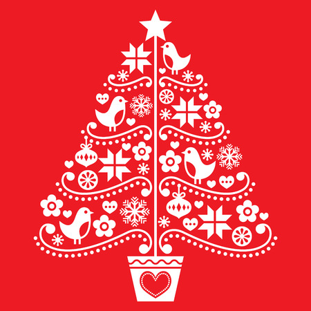 Christmas tree design - folk style with birds, flowers and snowflakes