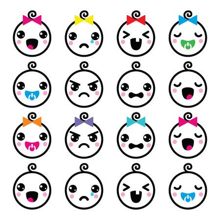 girl cute: Kawaii baby boy and girl cute faces icons set