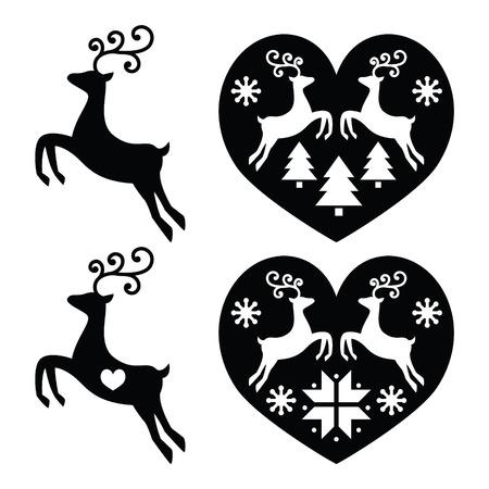 Reindeer, deer jumping, Christmas icons set  イラスト・ベクター素材