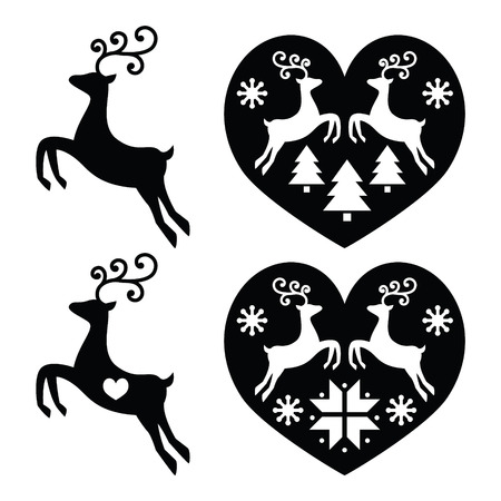 Reindeer, deer jumping, Christmas icons set Vettoriali
